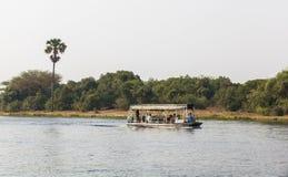 De rivier van Nijl in Murchison valt Nationaal Park, Oeganda stock foto