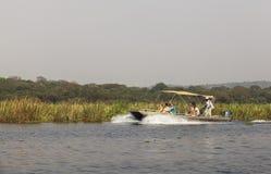 De rivier van Nijl in Murchison valt Nationaal Park, Oeganda royalty-vrije stock fotografie