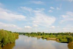 De rivier van Oder dichtbij Wroclaw Stock Foto
