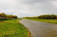 De rivier van Oder dichtbij Wroclaw Stock Afbeelding