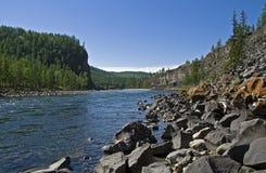 De rivier van Oka van Sayan. Stock Foto's