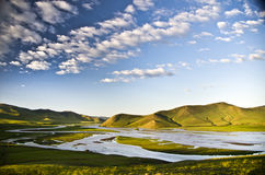 De rivier van Orkhon, Kharkorin, Mongolië Royalty-vrije Stock Foto's