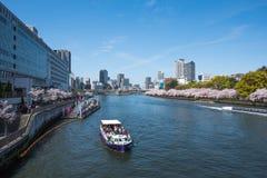 De rivier van Osaka en Yodo- Stock Foto's
