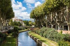 De rivier van Perpignan royalty-vrije stock afbeelding