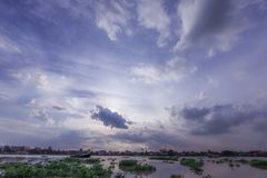 De Rivier van Phraya van Chao bij zonsondergang Stock Foto