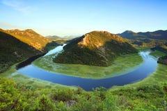 De rivier van Rijeka Crnojevica dichtbij Skadar-Meer Stock Foto's