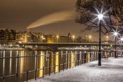 De rivier van Rijn, Bazel, Zwitserland Stock Afbeeldingen