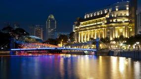 De rivier van Singapore in de avond Stock Foto's