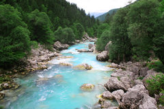 De rivier van SoÄa in Bovec, Slovenië. Royalty-vrije Stock Fotografie