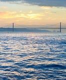 De Rivier van Tagus, Lissabon, Portugal Stock Foto's