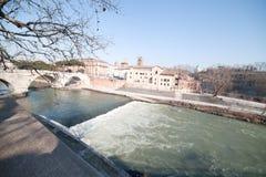 De rivier van Tiber. Stock Afbeeldingen