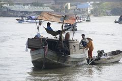 De rivier van Vietnam Mekong het drijven markt Stock Foto's