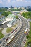 De rivier van Vistula met brug WZ in Warshau Stock Afbeelding