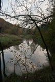 De rivier van Weisseelster dichtbij Plauen in Saksen Stock Afbeelding