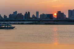 De Rivier van zonsondergangtamsui Royalty-vrije Stock Afbeeldingen