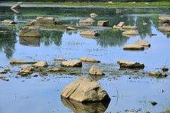 De rivier was laag De rotsen steken uit het water uit De zomer stock foto