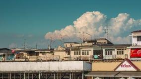 De rivierbaai van zonsondergangbangkok het leven de tijdtijdspanne Thailand van het blokpanorama 4k stock footage