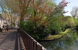 De rivierbank van Marne in land ÃŽle-DE-Frankrijk Royalty-vrije Stock Foto's