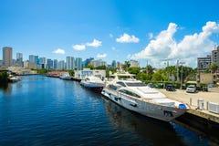 De Riviercityscape van Miami stock foto