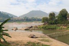 De Rivieren van Nam Khan en Mekong in Luang Prabang royalty-vrije stock afbeelding
