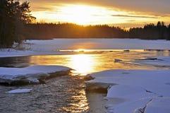 De rivierlandschap van de winter Royalty-vrije Stock Fotografie