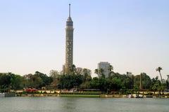 De rivierlandschap van Nijl in de stad van Kaïro Royalty-vrije Stock Fotografie