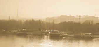 De Riviermening van Belgrado Stock Foto