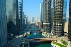 De rivierscène van Chicago Stock Foto's