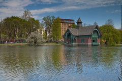 De rivierscène van het Central Park stock foto