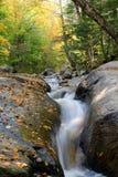De rivierstroom van de cascade met dalingsgebladerte royalty-vrije stock afbeelding