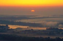 De Riviervallei van Arkansas bij Zonsopgang, Arkansas Royalty-vrije Stock Afbeeldingen
