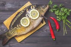 De riviervissen van de spiegelkarper met citroen, kruiden en peper op donkere houten lijst Royalty-vrije Stock Foto