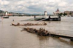 De Riviervloed 2013, Boedapest, Hongarije van Donau Stock Fotografie