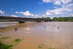 De riviervloed van Vistula Stock Foto's