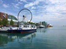 De riviervooruitzichten van Chicago stock fotografie