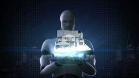 De robot cyborg opent twee Onroerende goederen palmen, construeerde huis vector illustratie