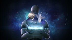 De robot cyborg opent twee palmen, Ruimtewetenschappenlaboratorium, planeet, astronomie royalty-vrije illustratie
