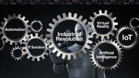 De robot, cyborg raakt Toestel met sleutelwoord, Automatisering, IT Oplossing, Virtuele werkelijkheid, 'Industriële revolutie' stock illustratie