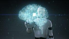 De robot cyborg wat betreft de hersenen verbonden cpu-raad van de spaanderkring, kweekt kunstmatige intelligentie stock illustratie