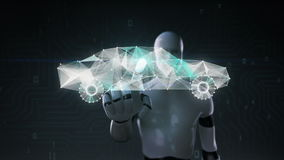 De robot, cyborg wat betreft het scherm, Digitale lijnen leidt tot Elektronische autovorm, digitaal concept intelligentie toekoms vector illustratie