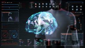 De robot cyborg wat betreft veelhoekhersenen, verbindt digitale lijnen in digitale vertoningsinterface, kweekt toekomstige kunstm stock illustratie