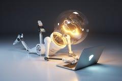 De robot en laptop van de personage gloeilamp Zoek naar idee Concept Stock Afbeeldingen