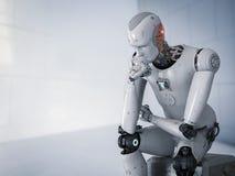 De robot gaat zitten en denkend Stock Afbeelding