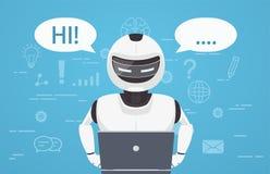 De robot gebruikt laptop computer Concept praatje bot, een virtuele online medewerker vector illustratie
