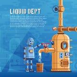 De robot giet vloeistof van een reservoir stock illustratie