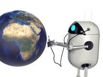 De robot let op de aarde, 3d geef terug stock fotografie