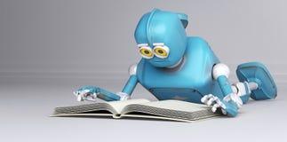 De robot met 3d boek, geeft terug vector illustratie