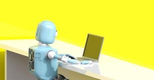 De robot met 3d laptop geeft terug stock illustratie