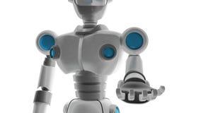 De robot opent zijn die hand op witte achtergrond, Kunstmatig int. wordt geïsoleerd royalty-vrije illustratie
