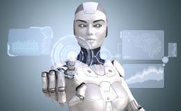 De robot werkt met high-tech touchscreen Royalty-vrije Stock Foto